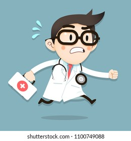 Vector Illustration, Doctor tiny character running with first aid box