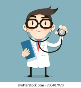 Vector Illustration, Doctor tiny character health tips report