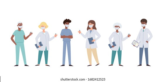 Vector illustration of doctors and nurses in protective face masks isolated on white. Set of medical workers men and women wearing protection from urban air pollution, airborne diseases, coronavirus.