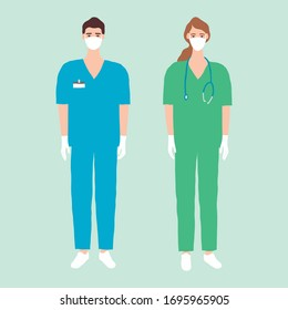 Vector illustration of doctors standing in white medical masks and gloves. Medic team design concept. Male and female hospital workers with stethoscope