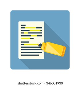 A vector illustration of a document with text being hi lighted. Flat icon of highlight fluorescent marker. Yellow maker lining text document.