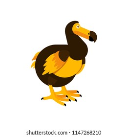 Vector illustration of the Dodo bird. Cute character in simple flat style