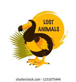 Vector illustration of the Dodo bird. Cute character in simple flat style. Lost animals text