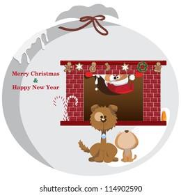 Vector illustration: Dog & cat Christmas graphic design elements for cards & background (Part 2)