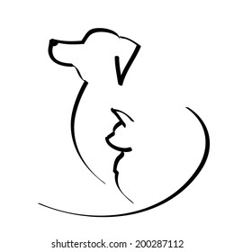 vector illustration dog and cat isolated