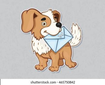 Vector illustration. Dog with envelope.