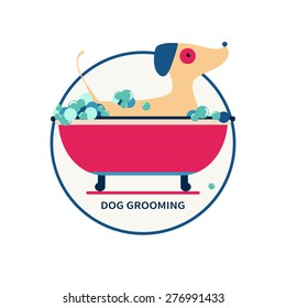 vector illustration of dog grooming. washing pet. can be used for salon logo, banner, poster. flat modern style.