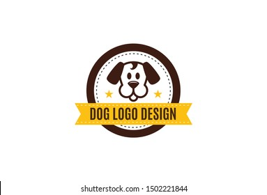 Vector illustration of dog logo design template. Isolated on white background.