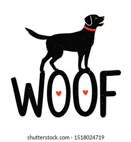 Vector illustration with dog, red hearts and lettering word Woof. Cute pet typography poster with cartoon black retriever