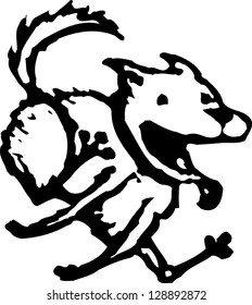 Vector illustration of a dog running