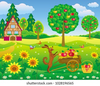 Vector illustration of a dog standing with a cart full of apples in a beautiful garden
