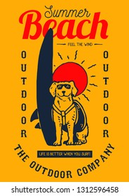 Vector illustration of a dog with sunglasses standing near surfboard ready to surf in the sunset beach