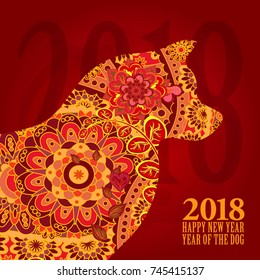 Vector illustration of dog, symbol of 2018 on the Chinese calendar. Vector element for New Year's design.