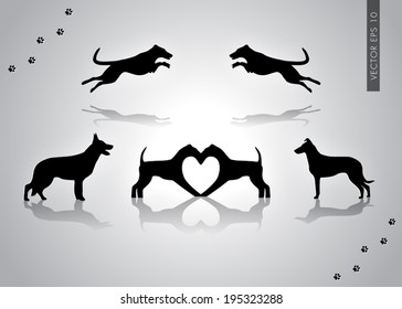Vector illustration of dogs collection