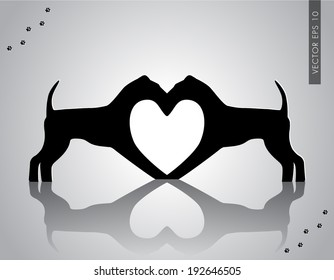 Vector illustration of dogs making heart