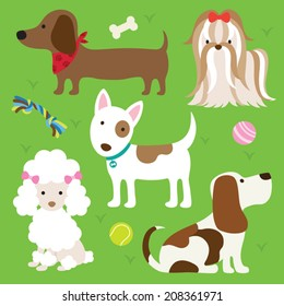 Vector illustration of dogs with toys.