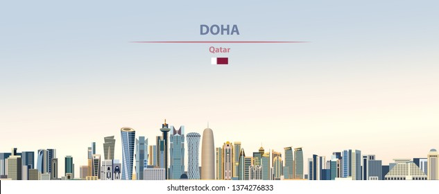 Vector illustration of Doha city skyline on colorful gradient beautiful day sky background