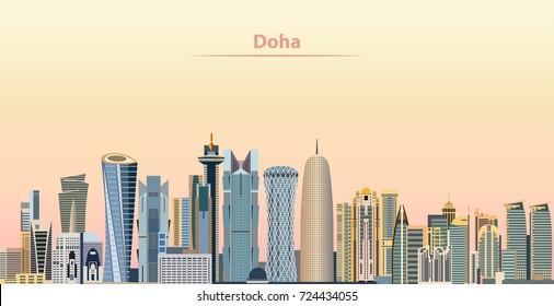 vector illustration of Doha city skyline at sunrise