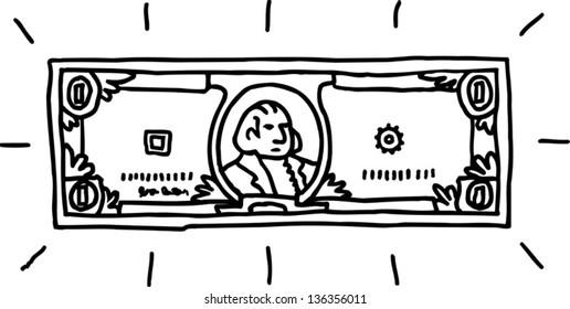 Vector illustration of a dollar bill