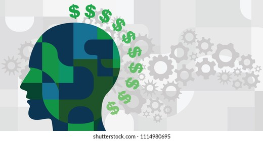 vector illustration dollar signs and human silhouette for business process and entrepreneur visuals