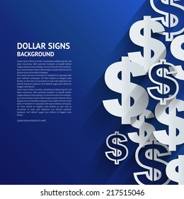 Vector illustration. Dollars sign on blue background.