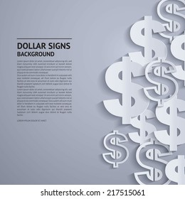 Vector illustration. Dollars sign on grey background.