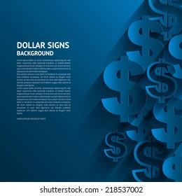 Vector illustration. Dollars sign on blue background.
