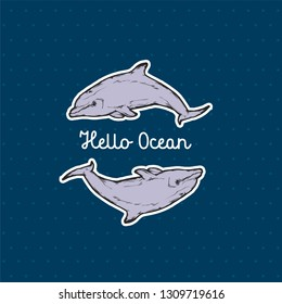 Vector illustration -  Dolphin. Logo template