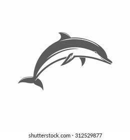 vector illustration of a dolphin in the old-fashioned style and line-art style. Can be used as a tattoo / Black and white vector ilstration jumping dolphins