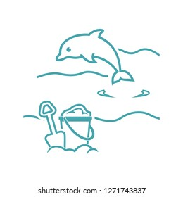 Vector illustration a dolphin on sea waves and children's play set for sand. vector symbols. Sea tour with children. Flat design