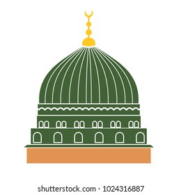 Vector illustration of the dome of the holy mosque of Nabawi Medina, Saudi Arabia. Green mosque dome