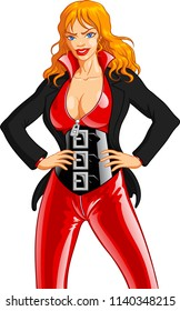 Vector illustration of a dominant, controlling and successful blonde businesswoman wearing a sexy red latex catsuit with a huge shiny black corset under a business jacket.