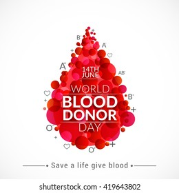 Vector illustration of Donate blood concept with abstract blood drop for World blood donor day-June 14.