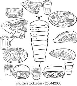 Vector illustration of doner kebab collection in line art mode