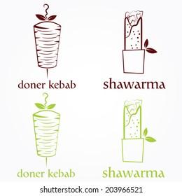 Vector illustration of doner kebab and shawarma