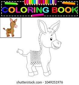 vector illustration of donkey coloring book