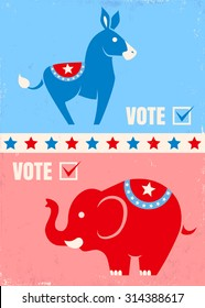 Vector illustration donkey and elephant. United States political party symbols