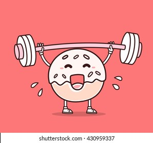 Vector illustration of donut with barbell lifting weights on red background. Exercising cartoon donut concept. Doodle style. Thin line art flat design of character donut for lose weight, fitness
