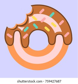 A vector illustration of a donut with chocolate topping and colorful sugar icing on light pastel blue background