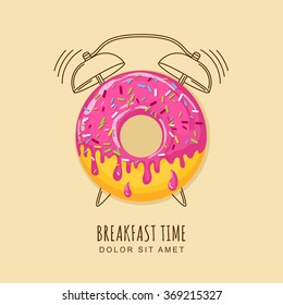 Vector illustration of donut with pink cream and outline alarm clock. Concept for breakfast menu, cafe, restaurant, desserts, bakery. Logo design template. Food background.