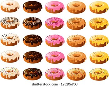 Vector illustration of donuts with various frostings and toppings.