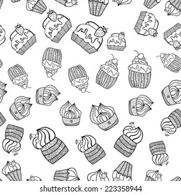 Vector illustration. Doodle.  Black and white seamless pattern of Cake
