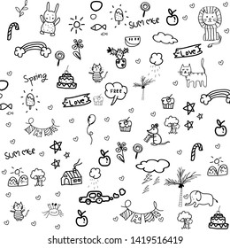 Vector illustration of Doodle cute for kid set hand drawn ,sumer,spring,and more.