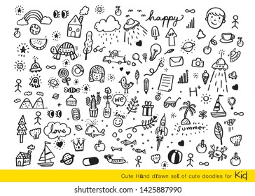 Vector illustration of Doodle cute for kid, Hand drawn set of cute doodles for decoration,Funny Doodle Hand Drawn,Summer, Doodle set of objects from a child's life