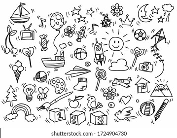 Vector illustration of Doodle cute for kid, Hand drawn set of cute doodles for decoration on white background,Funny Doodle Hand Drawn,Page for coloring.