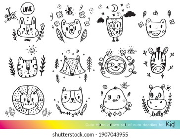 Vector illustration of Doodle cute for kid, Hand drawn set of cute doodles,Cute Doodle animal faces,Hand drawn characters,Vector illustration,Big animal set