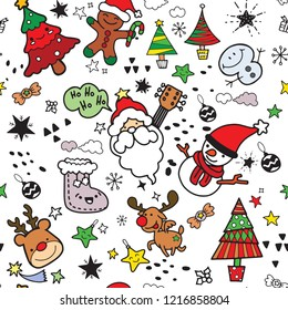 Vector illustration of Doodle cute Merry Christmas and Happy Christmas companions. Santa Claus  Snowman  Reindeer and elf in Christmas snow scene  Hand drawing Doodle