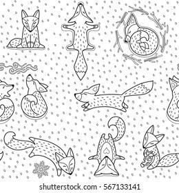 Vector illustration of doodle foxes seamless pattern for backgrounds, textile prints, wrapping, wallpapers.