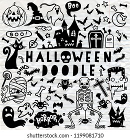 Vector illustration of Doodle Halloween poster design set with vector vampire witch mummy  ghost reaper character  ,Hand drawing Doodle Flat design
