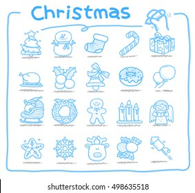 Vector illustration - Doodle Merry Christmas Icon set